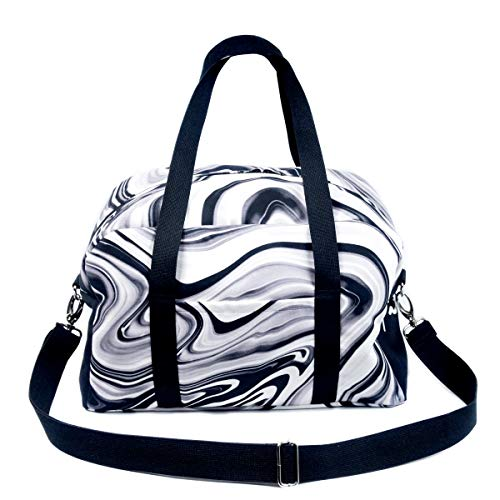 Woman Suede Bag for Traveling or Sports with Digital Print Marble Black and White Minimalistic I Travel, Gym Bag for Female I Handbag Everyday Use School Work I Street Fashion Accessory I Shoulder Bag