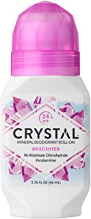 CRYSTAL Mineral Deodorant Roll-On Unscented Body Deodorant With 24-Hour Odor Protection, Aluminium Chloride & Paraben Free, 2.25 FL OZ