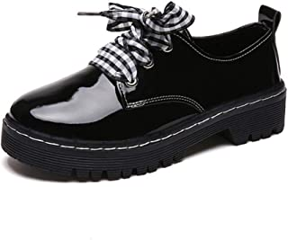 MAGCOL Small Leather Shoes Female Autumn 2019 New Retro Round Head Students British Women's College Wind Korean Version of Wild