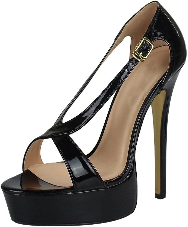MAIERNISI JESSI Unisex Men's Women's Flatform Two Cross Straps Stiletto High Heel Sandals