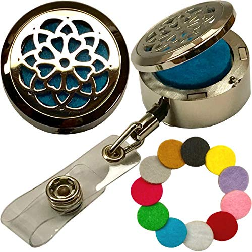 Custom One-Piece Aromatherapy Essential Oils Stainless Steel Diffuser with Elegant Locket-Style Lid Retractable Heavy Duty Belt Clip ID Badge Holder ST Mandala