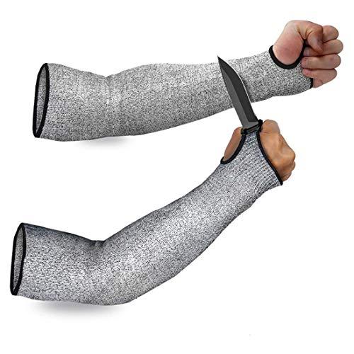 Mangas de protección de brazo de nivel 5, mangas resistentes a los cortes, resistentes a la abrasión, protectores de brazo de seguridad de 35/40 cm (tamaño: longitud: 40 cm).