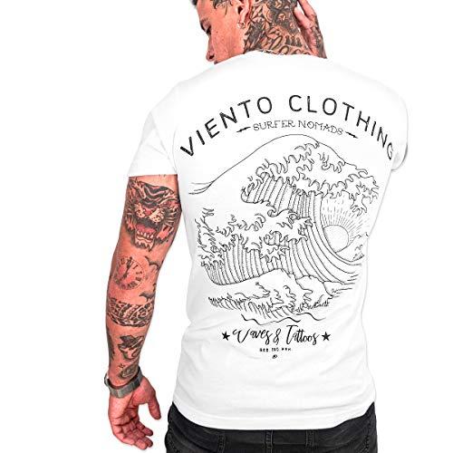 VIENTO Japan Tide Camiseta para Hombre (Blanca, L)