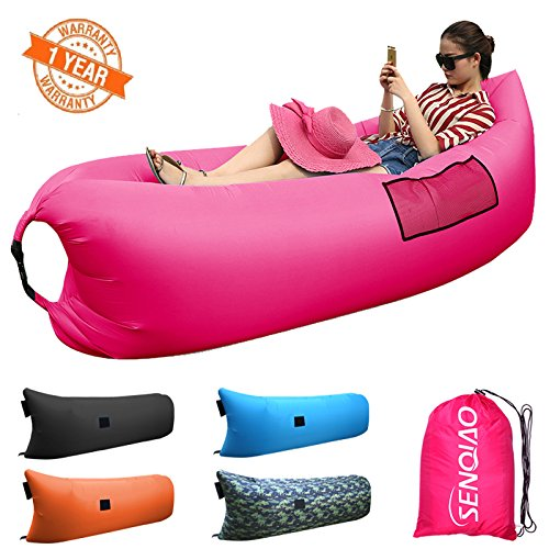 SENQIAO Inflatable Waterproof Air Bed Lounger Sofa Sleeping Bag for Camping Beach Backyard Park