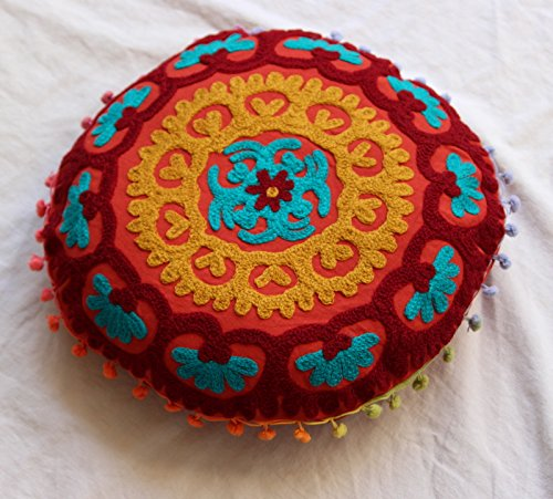 HANDICRAFTOFPINKCITY 16'' Vintage Round Cushion Cover Suzani Embroidered Cotton Pouf Cover Indian Decorative Pillow Cover by HANDICRAFTOFPINKCITY
