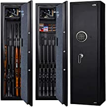 Langger Gun Safe for Rifle, Upgraded Quick Access 5-Gun Large Rifle Gun Security Cabinet for Rifle Shotgun Firearms with/without Optics with Pistol Lock Box, Removable Storage Shelf
