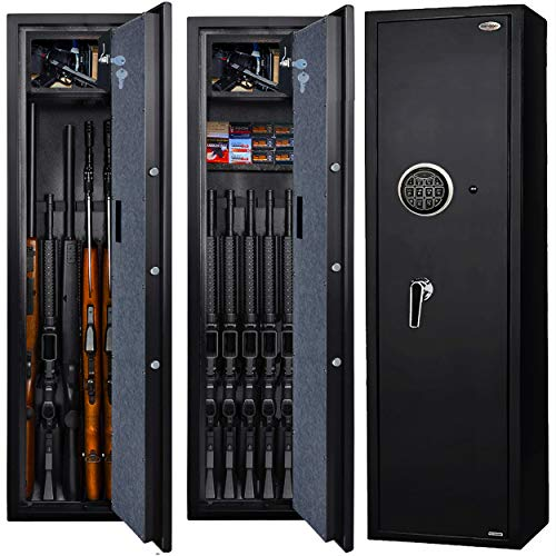 Langger Gun Safe for Rifle, Upgraded Quick Access 5-Gun Large Rifle Gun Security Cabinet for Rifle Shotgun Firearms w/o Optics/Scopes with Pistol/Handgun Lock Box, Removable Storage Shelf