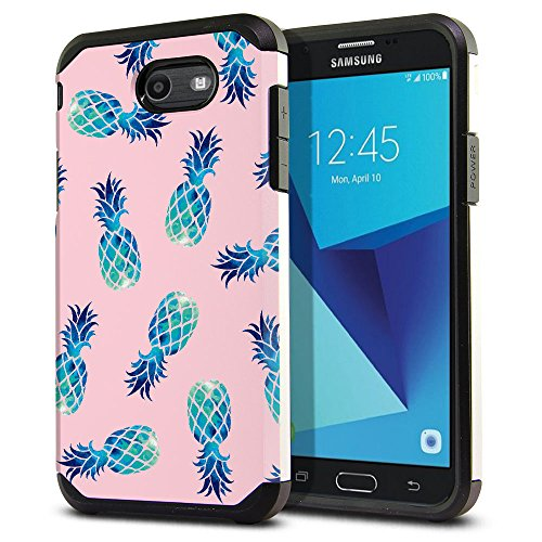 FINCIBO Case Compatible with Samsung Galaxy J7 2017 J727 Sky Pro, Dual Layer Hard Back Hybrid Protector Case Cover TPU For Galaxy J7 2017 Sky Pro (NOT FIT J7 2016) - Blue Pineapple Pattern Pink Pastel