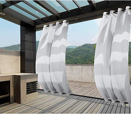 Clothink Outdoor Vorhänge Aussenvorhang B:132xH:215cm mit Ösen Oben(ID:4cm)+Unten(ID:4cm) Winddicht Wasserabweisend Sichtschutz Sonnenschutz UVschutz Grau-weiß