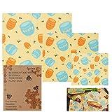 Lyeiaa 3 pcs Emballage Alimentaire Réutilisable Abeille de Wrap Emballage de Cire d'abeille Wrap dans diverses tailles