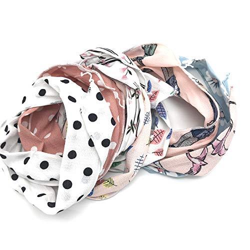 Schneespitze 9Pcs Haarband Stirnband,Biegbares Haarband, Wired Stirnbänder,Vintage Printed Haarbänder Hair Accessory für Lady Mädchen