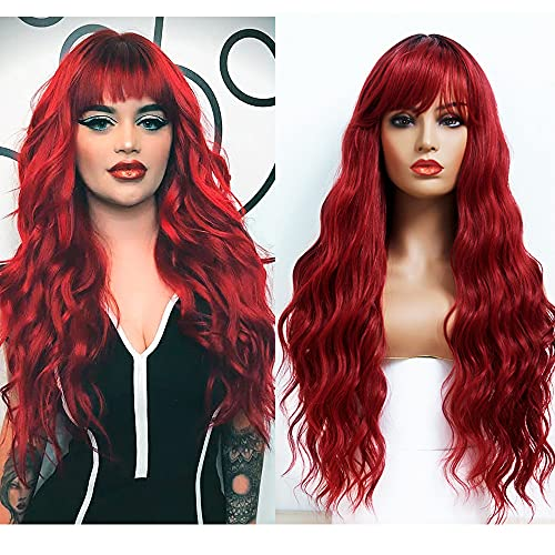 ANDRIA Ombre Red Wigs Loose Wave Wig with Bangs Burgundy Wine Red Wig Dark Roots Red Wig Long Wavy Loose Curly Wig Heat Resistant Synthetic Fiber Red Colorful Wigs Cosplay Party Wigs for Black Women