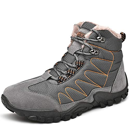 Zhukeke Men's Work Climbing Boots for Men Winter Ankle Snow Boot Soft Genuine Leather Splice Breathable Fabric Casual Sport Shoes Lined with Velvet Fashion Wear-Resistant