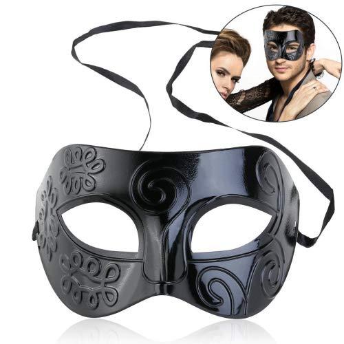 Máscara negra romana Winomo, máscara veneciana para hombres mujeres, disfraz de Halloween
