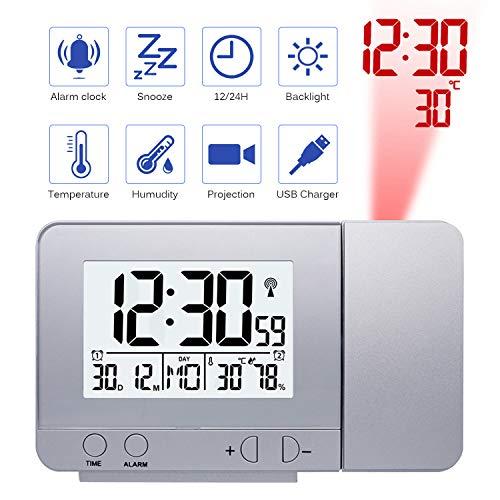 Konesky Reloj de proyección Digital, atenuador Reloj Despertador Hora Reloj Protector de Temperatura con función de repetición Reloj de Humedad Batería USB (Dimmer S)