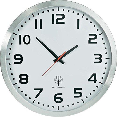 EUROTIME Funkwanduhr, 50 cm, Aluminiumgehäuse, Echtglas, klares 12-Zahlen Zifferblatt, automatische Zeitein- und Zeitumstellung von Sommer- und Winterzeit, Wanduhr für Wohnbereich oder Büro, rote Sekunde, wandanliegend, nur für Innen, 56863