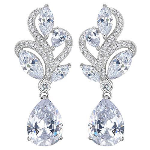 EVER FAITH-925 Argento sterlina CZ di lusso fiore di cerimonia nuziale goccia ciondola gli orecchini trasparente delle donne