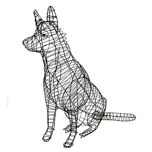 Gartenfigur Schäferhund sitzend für Buchsbaum Pflanzen geeignet 90 cm hoch