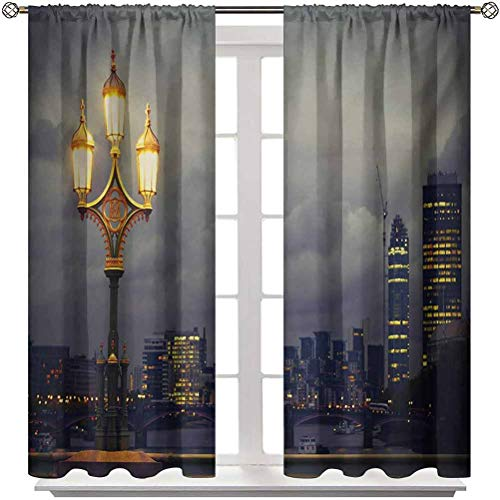 """Blackout Curtains Night Soundproof Window Curtain Panels Westminster Bridge London City UK Stormy Moody Weather European Urban Travel for Kitchen Patio Office 2 Rod Pocket Panels 42"""" W x 84"""" L"""