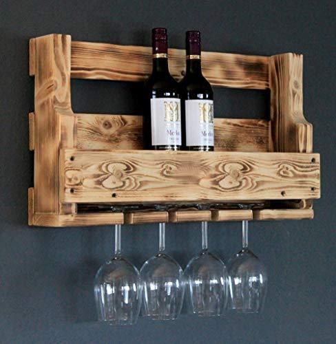 Dekorie - Scaffale in legno per vino con porta bicchieri, marrone