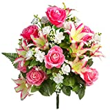 Everlasting Silk Flowers Cemetery Flowers - Artificial Flowers for Graves & Memorials - Beautiful Arrangements for Headstones - Lasting & Non-Bleed Colors Pink/White Silk Flower Bouquet