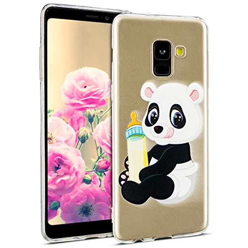Uposao Kompatibel mit Hülle Galaxy A8 Plus 2018 Silikon Handyhüllen Bunt Muster Transparent TPU Silikon Handyhülle Durchsichtige Schutzhülle TPU Weich Tasche,Panda