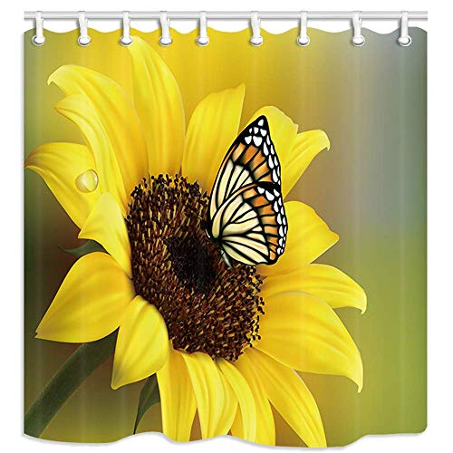 Rustic Sunflowers Shower Curtain, Butterfly in Cuntry Floral, Home Decor Polyester Fabric Waterproof Bath Room Curtains Set with 12 Hooks
