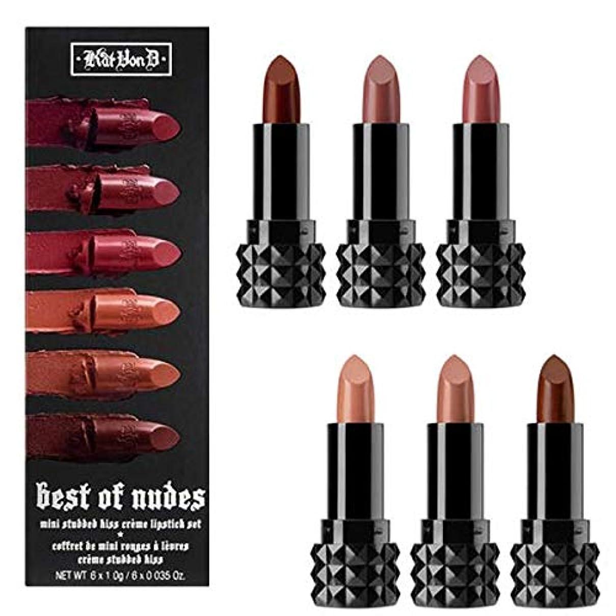 サミュエル湿ったアナウンサーKat Von D キャットヴォンD, 限定版 Best of Nudes Mini ミニ Studded Kiss Crème Lipstick Set [並行輸入品] [海外直送品]