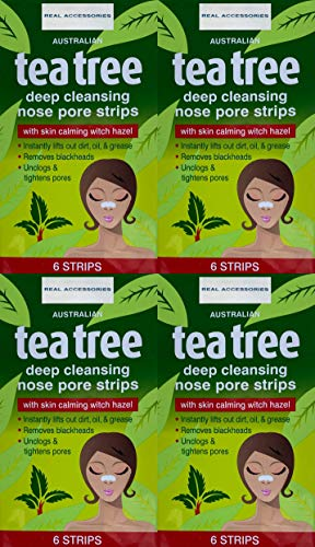 24 x Australian Tea Tree Nose Pore Strips, Pore Strips for Blackheads Nose Blackhead Remover Strips, ,Deep Cleansing Nose Pore Strips for Blackheads Removal Clear and Unclogged Pores 24 STRIPS