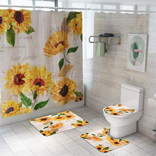 Taeamjone Duschvorhang-Sets mit Sonnenblumen-Motiv, rutschfest, WC-Deckelbezug, Badematte & 12 Haken, farbenfroher Blumen-Duschvorhang, langlebig, wasserdicht, 4 Stück