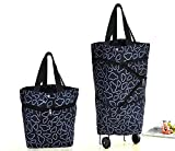 grocery trolley bags - Cocobuy Collapsible Trolley Bags Folding Shopping Bag with Wheels Foldable Shopping Cart Reusable Shopping Bags Grocery Bags Shopping Trolley Bag on Wheels(Black)