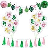 Amosfun Flamingo-Kaktus-Bikini-Kokosnuss-Flaggen-Fahnen-Ballon für Parteidekoration