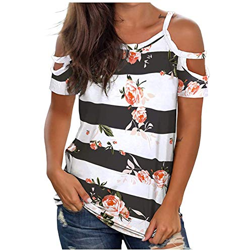 WANGTIANXUE Camiseta de manga corta para mujer, cuello redondo, hombros descubiertos, de un solo color y diseño de flores, elegante camiseta de verano y blusas para mujer multicolor S