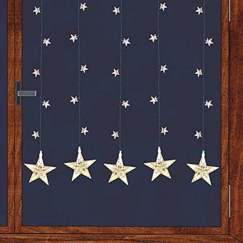 Multistore 2002 LED Sternenvorhang Lichterkette mit 100 LED-Lichter für Innen Lichtervorhang Weihnachtsdekoration Fensterdekoration