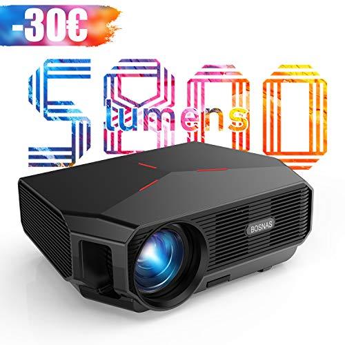 Proyector WiFi, BOSNAS Mini Proyector Portátil 5800 Lúmenes Nativo 720P, Soporta Full HD 1080P, Pantalla de 200