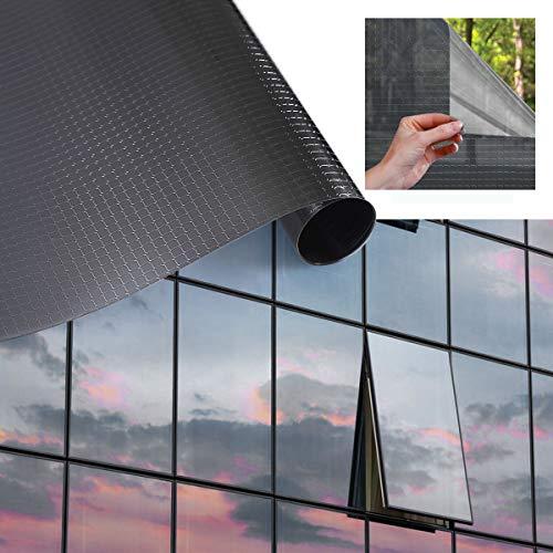 Sonnenschutzfolie Fensterfolie PVC-Spiegelfolie Ohne Klebstoff selbstklebende Hitzeschutzfolie UV-Schutzfolie Transparente Folie Kratzfest Sichtschutzfolie für Fenster Balkonfenster 90x200cm--Schwarz