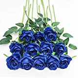 Tifuly 12 PCS Rose Artificial Flower, Single Stem Fake Flowers Bridal Wedding Bouquet, Realistic Blossom Flora for Home Garden Party Hotel Office Decorations (Blue)