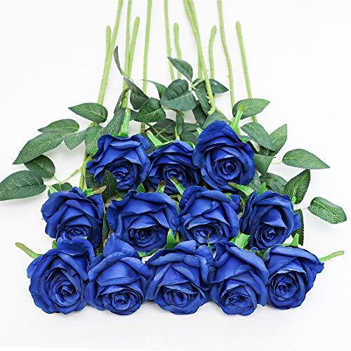 Tifuly 12 PCS Künstliche Rosen, 19,68 '' Single Long Stem Fake Rose Seide Braut Hochzeitsstrauß Realistische Blume für Hausgarten Party Hotel Büro Dekor (Blossom Roses, Blue)