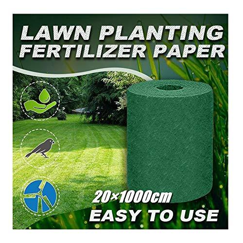 99native@ Rouleau de Tapis de semences de Gazon d'herbe biodégradable Tapis de graines de Gazon Semer des graines Engrais Gazon Artificiel Jardin extérieur Pique-Nique Ombrage Hydratant 10×0.2m (1x)