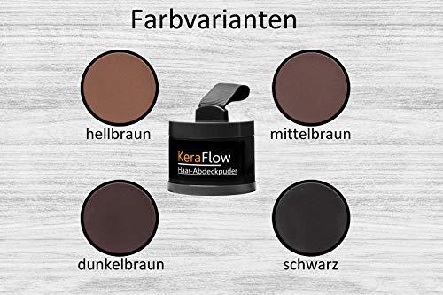 KeraFlow Ansatzpuder | Haar Concealer zur Haarverdichtung | Haarpuder zum Haaransatz kaschieren | Farbpuder gegen lichte Stellen – 4g (Dunkelbraun)