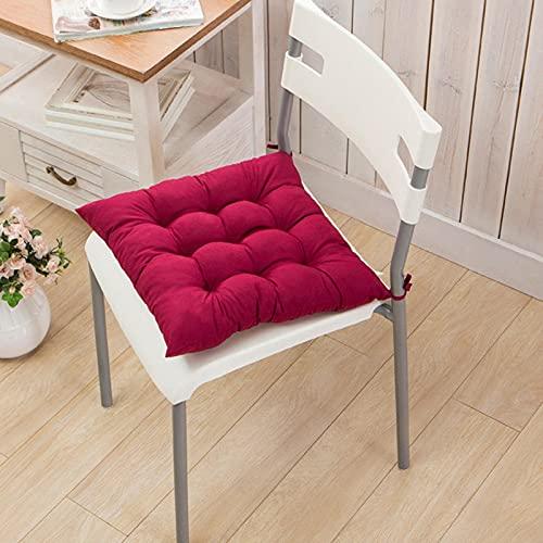Pteng Cuscino per sedia da esterno in Cuscino per sedia da pranzo, cuscino per sedile quadrato in tinta unita con lacci, cuscino per sedile in cotone 100% per soggiorno, giardino, ufficio, ba