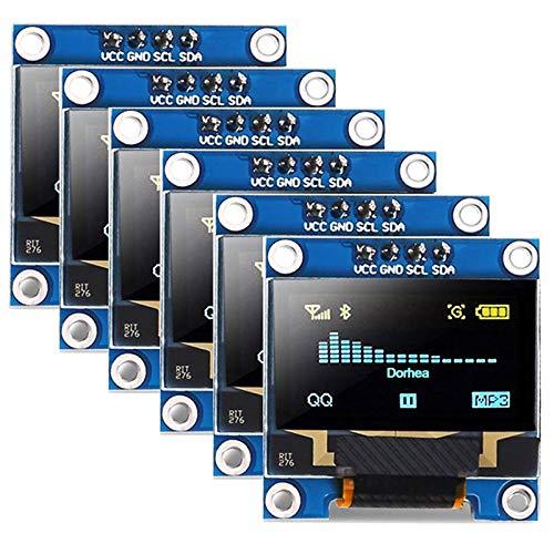 Gesh 6 x 2,4 cm OLED-Display-Modul 12864 128 x 64 LCD Gelb Blau SSD1306 Treiberplatine I2C Serial 0,96 Zoll IIC Chip