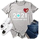 Pistazie - Camiseta de manga corta para San Valentín, diseño de corazón con texto en inglés 'Valentin 2021