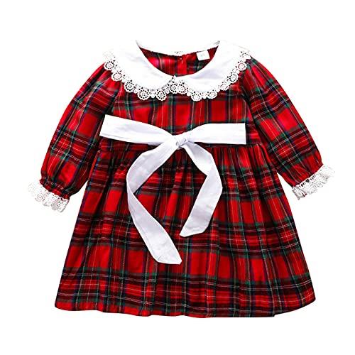 Kleinkind Baby Mädchen Herbst Casual Party Plaid Spitze Prinzessin Kleid Kinder Frühling und Herbst Gemütlich Beiläufig Neuer Herbstanzug Einfacher Stil Kinderkleid Kinderbekleidung