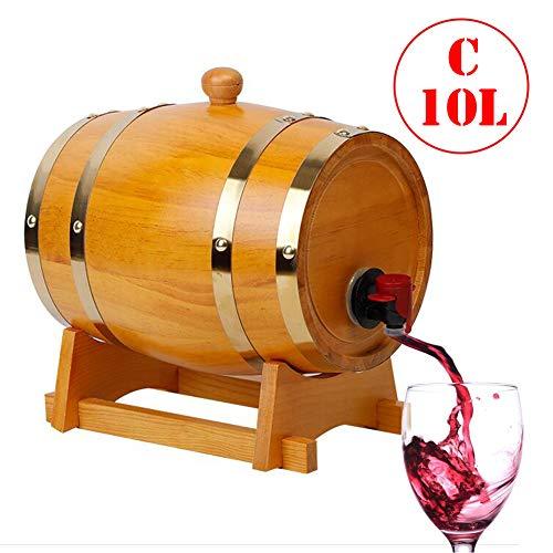 FYJTL Weinfass - Weinbereitung Holzwaren Keine Leckage Kein Liner Eichenfass Holzfass Zapfhahn Massives Schnapsfass Quality Unlackiertes Holzfass,C