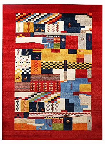 Nuevo Merrick Multi Red Gabbeh Pattern 200x300 cm Tradicional Handknotted Modern Design Area Alfombras & Alfombra