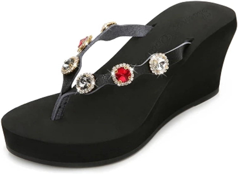 GIY Womens Rhinestone Wedges Platform Sandals Flip Flops Outdoor Anti-Slip Thick High Summer Beach Sandals