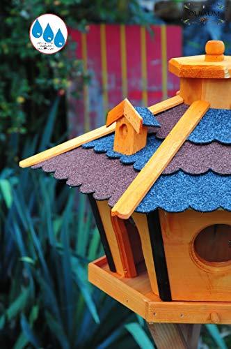 Vogelhaus Massivholz,wetterfest, mit Ständer / mit Standfuß und Silo,Futtersilo für Winterfütterung -Holz Nistkästen & Vogelhäuser- Futterhaus aus Holz Vogelstation rot BLAU DACH mit Ständer BR45r-bGMS - 3