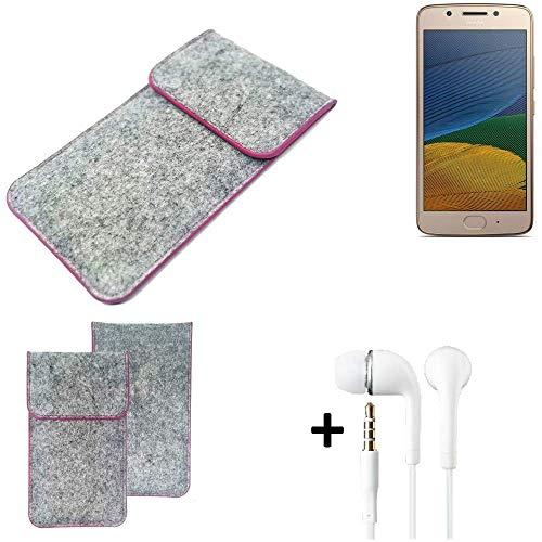 K-S-Trade Filz Schutz Hülle Für Lenovo Moto G5 Single-SIM Schutzhülle Filztasche Pouch Tasche Hülle Sleeve Handyhülle Filzhülle Hellgrau Pinker Rand + Kopfhörer