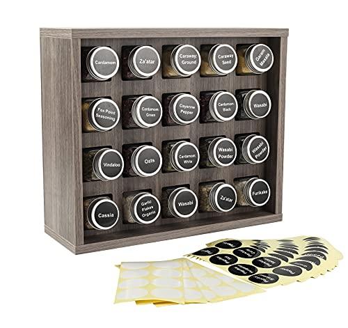 TQVAI Organizador de especias de madera para especias montado en la pared, estante de hierbas con etiquetas adhesivas, gris nogal (ceniza de nogal)